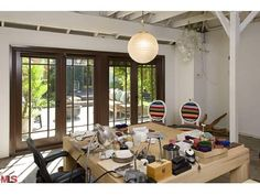 open studio space with french doors in a converted garage off the patio