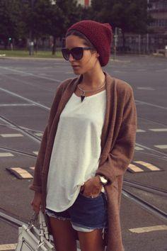 Casual slub outfit knit girl hat winter cap jean curoff shorts simple comfy