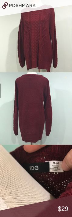 (Urban) BDG Knit Sweater - Medium BDG Cable knit maroon sweater. Cute elbow patch detail. Gently worn, no flaws. Size medium. Bust 21.5'', Length 28''. Urban Outfitters Sweaters