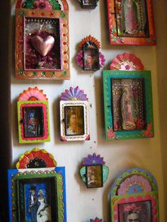 Mexican color: a collection of 'nichos' at a San Miguel de Allende store. Photography by Berenice Parra.
