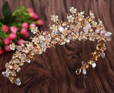 Gold Pearl Diamante Crystal Vintage Style Tiara Hair Wedding Princess Crown #Crown