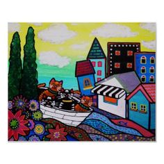 WHIMSICAL CATS ON A BOAT BY PRISARTS. Check out paintings of PRISARTS on Ebay