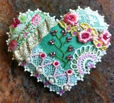 Crazy Quilt Heart Pin D -SORRY, THIS IS SOLD
