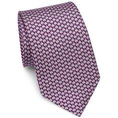 Salvatore Ferragamo Ladybug Print Silk Tie ($190) ❤ liked on Polyvore featuring men's fashion, men's accessories, men's neckwear, ties, mens ties, mens leopard print tie, mens pink ties, mens silk ties and mens patterned ties