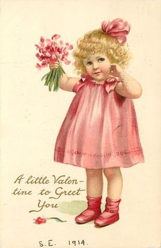 A LITTLE VALENTINE TO GREET YOU girl in pink dress carries pink sweet-peas - TuckDB