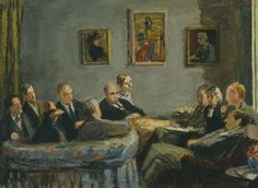The Memoir Club by Vanessa Bell 1943. (left to right: Duncan Grant, Leonard Woolf, Vanessa Bell, Vlive Bell, David Garnett, Maynard Keynes, Lydia Lopokova,, Desmond McCarthy, Mary McCarthy, Quentin Bell, EM Forster. Above them, on walls are the portraits of departed members of the group, Virginia Woolf, Lytton Strachey and Roger Fry)