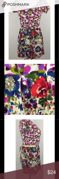 """Kimchi Blue Floral Watercolor Tunic Top UO Small Kimchi Blue Floral Watercolor Tunic Top UO Tie Waist Pockets Soft Cotton Small Long tunic top with a stunning watercolor floral & abstract contrasting print Could be used as a super mini dress Super soft Pull on style with pockets and tie waist Gently used condition - no flaws noted Made of 100% Cotton Made in the USA Approximate measurements: Chest = 17"""" across laid flat Length = 29"""" from shoulder to hem Kimchi Blue Tops Tunics"""