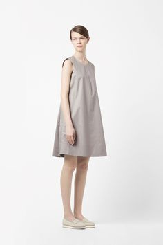 COS image 1 of Back pleat dress in Light Grey