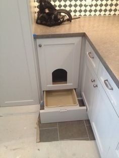 Awesome Ways To Hide A Cat Litter box.place in the mudroom/laundry room.must make the open doorway bigger for my cats to fit. Cat Room, Laundry Room Storage, Laundry Rooms, Cat Furniture, Kitty, Pets, Home Decor, Catio, Room Ideas