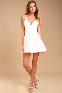 Believe in Love White Backless Skater Dress 1