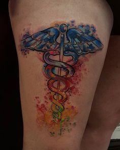 No photo description available. Ems Tattoos, Symbol Tattoos, Cute Tattoos, Sleeve Tattoos, Nursing Tattoos, Tatoos, Caduceus Tattoo, Nurse Symbol, Med School