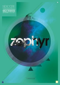 ZEPHYR Fashion Poster - Blue, green, black and white. Logo is foremost and dominant. The bordering circle sets the focal point with the model remaining quite transparent. Supporting text is quite minimal and less eye-catching.