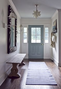 Laundry/Mud Room inspiration - BM Stratton Blue door & BM Palladian Blue ceiling, striped rug, bench