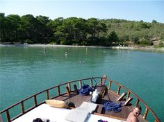 Shot from the front of our fishing boat, and one of the lovely bays we moored at near Torba, Bodrum Peninsula, Turkey