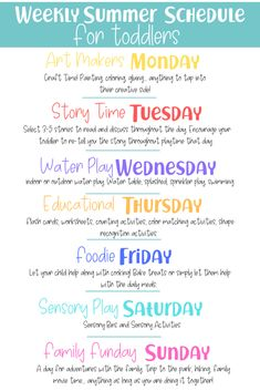 Weekly Summer Schedule for Toddlers. How we are breaking down our weeks to make activity planning easier! Weekly Summer Schedule for Toddlers. How we are breaking down our weeks to make activity planning easier! Toddler Learning Activities, Summer Activities For Kids, Infant Activities, Summer Kids, Fun Activities, Preschool Activities At Home, Babysitting Activities, Activities For 2 Year Olds, Educational Activities