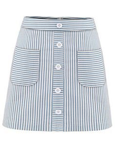 Buttoned Pocket Front Striped A-Line Skirt - Blue.
