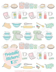 Printable Vintage BAKING stickers! - Digital File Instant Download- mixer, spatula, pie, four, mixing bowls