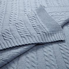 John Lewis Cable Knit Blanket in Blue