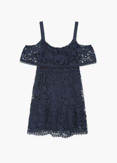 Guipure cold shoulder dress