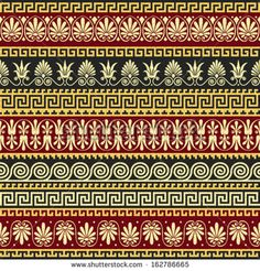 Greek Floral Pattern Floral Pattern on a Red
