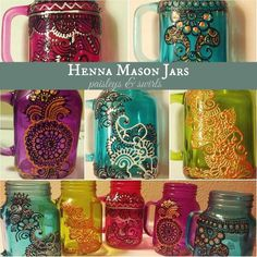 Tinted henna mason jars