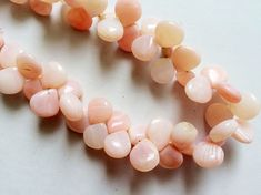 Pink Opal Beads Peruvian Pink Opal Plain Heart by gemsforjewels