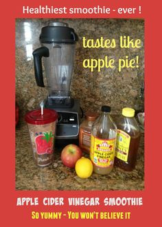 Hard to believe something so natural and accessible is SO STINKIN' GOOD FOR YOU! Here is a really yummy smoothie recipe using apple cider vinegar, raw honey, apples and lemon juice. Tastes like a slice of APPLE PIE! Read up on the many bene's of apple cider vinegar. Amazing stuff!