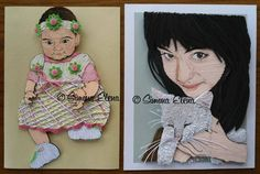 Quilled baby girl and lady with quilled cat - by: Simona Elena - FB