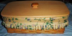 Complete 1998 Longaberger Vanity Basket w/Floral Cloth & Plastic Liners & Lid - Handmade Items For Sale - The Vintage Village