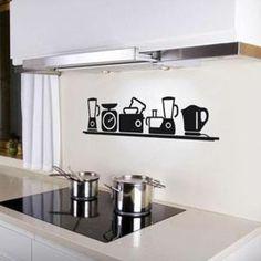 Créative Appareils De Cuisine Pvc Stickers Muraux Décor Peint Décoration De  La Maison  1034 Fond