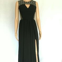 Black evening gown with slit New never worn custom made evening gown with sequins. This evening gown comes in many sizes. Please inquire with any and all questions you may have about sizes! Gowns Dresses Maxi