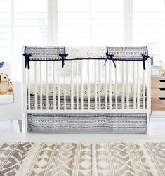 Aztec Crib Bedding Baby Navy Boy
