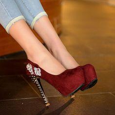 Graceful Bowknot Rhinestone Platform Heels - HeelsFans.com