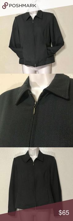 VINTAGE HARRIS WALLACE - Petite Wool Blend Jacket VINTAGE HARRIS WALLACE - Petite Wool Blend Jacket  Women's 6 Petite  (6P) Woven Black & Copperish Color  Zip Up Button Cuffs   55% Polyester, 42% Wool, 3% Spandex   This is in great condition and looks good with light colored jeans. For the office or play.   # 369 HARRIS WALLACE Jackets & Coats