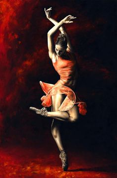 American ballerina Drew Jacoby of the USA's Lines Ballet is a perfect example of modern, contemporary ballet in The Passion of Dance.    Both the ballerina and the background are painted entirely with a knife. A high level of contrast is provided and the colours made extremely rich, bold and lustrous, thus creating a very contemporary feel overall.