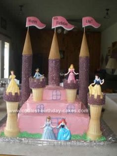 Homemade Disney Princess Castle Cake: For my daughters 4th birthday we did a princess theme. Being that it is VERY popular I was looking for ideas for a Disney Princess Castle Cake. I found
