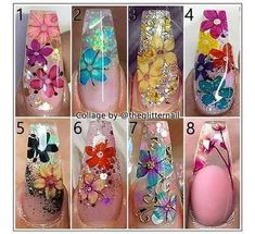 - Inspo ✨👌 What about a flower accent in your next set of nails? 🌻🌹🌷 Which one is your favourite? Pretty Nail Art, Cute Nail Art, Cute Nails, Glam Nails, Bling Nails, Beauty Nails, Cute Acrylic Nails, Acrylic Nail Designs, Nail Art Designs