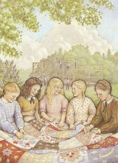 """For American Girl Kirsten Larson's tenth birthday, her friends help her stitch up a very special quilt. From her book """"Happy Birthday Kirsten""""."""