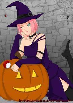"""Perhaps this picture I would also submit as a cover to a mini-doji """"Halloween gift for Witches"""" Sakura witch. Narusasu, Sasunaru, Naruto Shippuden, Boruto, Sakura Haruno, Sakura And Sasuke, Pokemon, Fanart, Bulbasaur"""