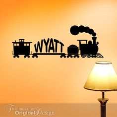 Vintage Style Train Wall Art, Vinyl Wall Decal: Custom Name Decals, Kids Room, Birthday Party Decorations. $28.00, via Etsy.