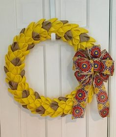 All Season Yellow and Tan Burlap Petal Wreath, Burlap Wreath, Spring Wreath, Front Door Wreath, CircleDecorWreaths