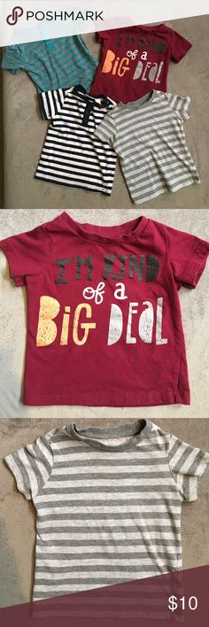 4 play t-shirts Perfect for everyday play! These 4 t-shirts were rarely worn! (My son went from size 9 months to 18 months! #beast). Super cute with a pair of shorts and sneakers. Shirts & Tops Tees - Short Sleeve