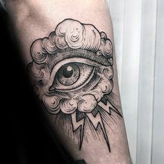 60 Sketch Tattoos For Men - Artistic Design Ideas - Amazing Mens Eye With Cloud And Thunder Forearm Sketch Tattoo Designs - Sketch Tattoo Design, Tattoo Sleeve Designs, Tattoo Designs For Women, Tattoo Sketches, Tattoos For Women, Tattoos For Guys, Cloud Tattoo Design, Leg Tattoos, Body Art Tattoos