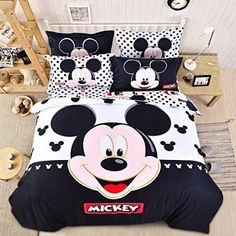 USpiece Cartoon Children Disney Mickey Mouse G Printed Bed Quilt Cover Bedding Set Duvet Cover King Disney Mickey Mouse, Mickey Mouse Bett, Mickey Mouse House, Mickey Mouse Cartoon, Mickey Minnie Mouse, Disney Bedding, Polka Dot Bedding, Disney Bedrooms, Twin Set