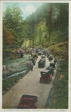 """Benson Park Entrance, ca.1910.  Penny Postcard, ca.1910, """"At Benson Park Entrance, Columbia River Highway, Oregon."""". Published by The Oregon News Company, Portland, Oregon. Card #O-73. In the private collection of Lyn Topinka."""