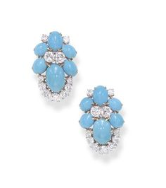 A PAIR OF TURQUOISE AND DIAMOND EAR CLIPS, BY BULGARI   Designed as a cluster of vari-sized cabochon turquoise, enhanced by circular-cut diamond trim, mounted in 18k gold  Signed Bulgari