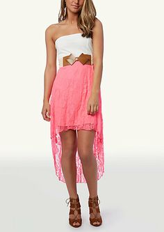 image of Cutout Ponte Lace High Low Dress