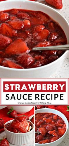 An easy Strawberry Sauce made with just 3 ingredients ready in 20 minutes! This simple recipe is perfect as toppings for your ice cream, Belgian waffles, buttermilk pancakes, angel food cake, biscuits Angel Food Cake Toppings, Angel Food Cake Desserts, Angle Food Cake Recipes, Cheesecake Toppings, Strawberry Angel Food Cake, Strawberry Sauce, Strawberry Recipes, Fruit Recipes, Sauce Recipes