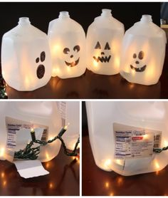 Save money on Halloween decorations with these easy milk jug ghosts.