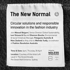 Panelists announced | Tickets will be released Monday 3 April | Please sign up to our newsletter via our Facebook page👆🏽to receive the link | This event WILL sell out!  Tackling the environmental impacts of the way we produce and consume fashion is one of the most significant challenges the fashion industry faces.  For Fashion Revolution Week 2017, learn from some of the worlds leading brands their pioneering sustainability initiatives and product stewardship programs designed to create a…